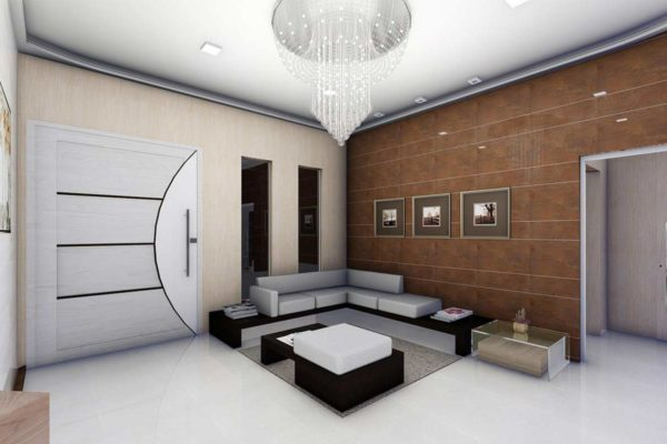 Decorate living rooms with wood wall