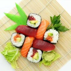 Delicious Sushi with Sashimi meat