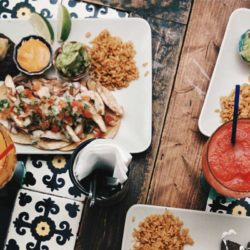 Dishes in a Mexican restaurant